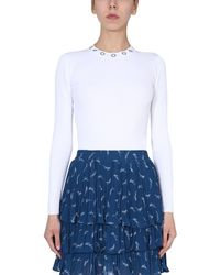MICHAEL Michael Kors Slim Fit Crew Neck Sweater With Rings - White