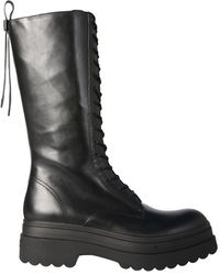 RED V Lyered Combat Leather Boots - Black