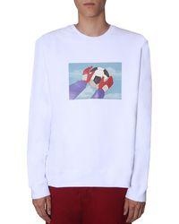 MSGM Cotton Sweatshirt With Holly And Benji Print - White