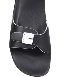 Marni Rubber Slide Sandals With Buckle - Black