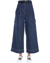 KENZO - Denim Croppeed Cargo Trousers - Lyst