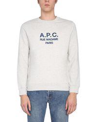 A.P.C. Crew Neck Cotton Sweatshirt With Logo - Multicolour