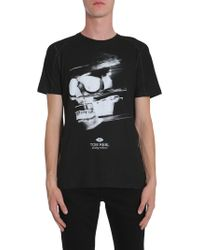Tom Rebl Skull Printed Round Collar Cotton T-shirt - Black