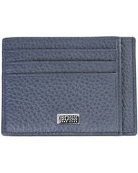 BOSS by Hugo Boss Hammered Leather Card Holder With Logo - Blue