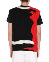 Alexander McQueen Wool Jumper With Ink Bleeding Inlay - Black