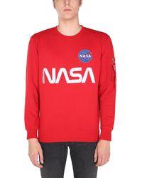 """Alpha Industries FELPA """"NASA"""" GIROCOLLO IN COTONE CON PATCH E STAMPA - Rosso"""