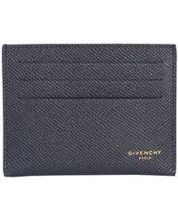 Givenchy PORTACARTE 3CC IN PELLE MARTELLATA - Blu