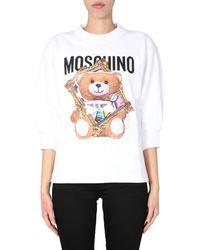 Moschino FELPA GIROCOLLO IN COTONE CON FRAME TEDDY BEAR - Bianco