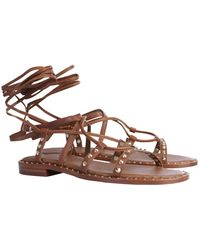 "Ash ""princess"" Leather Sandals With Studs - Brown"