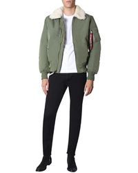 """Alpha Industries """"injector Iii"""" Bomber With Eco-shearling Collar - Green"""