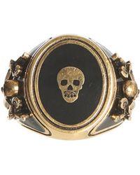 Alexander McQueen - Anello Skull In Ottone - Lyst