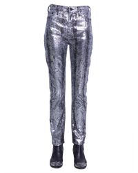 McQ Metallic High-rise Slim-leg Jeans Silver