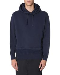 Stone Island Shadow Project Hooded Cotton Sweatshirt With Zip-off Panel - Blue