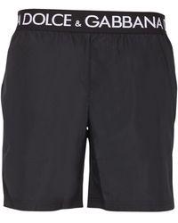 Dolce & Gabbana Medium Swimsuit With Logo Band - Black