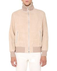 Brunello Cucinelli Shearling Bomber With Knit Collar - Natural