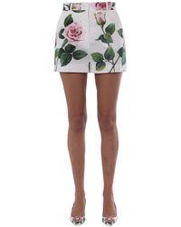 Dolce & Gabbana Rose Print Cotton Poplin Short - White