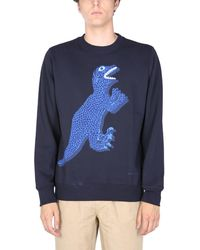 """PS by Paul Smith Cotton Crew Neck Sweatshirt With """"dino"""" Print - Blue"""