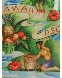 DSquared² - Borsa Tote In Canvas E Pvc Stampa Hawaii - Lyst