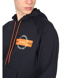 Z Zegna Hooded Cotton Sweatshirt With 20th Anniversary Logo Print - Black
