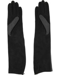 Lanvin Bi Material Long Gloves - Black