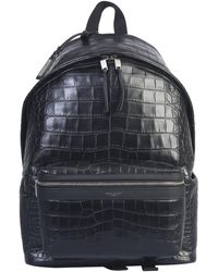 Saint Laurent Crocodile Print City Leather Backpack - Black