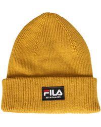 Fila Beanie Hat With Logo Patch - Yellow