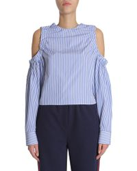 """Tommy Hilfiger """"ithaca"""" Striped Cotton Shirt With Cut Out Detail - Blue"""