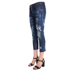 DSquared² Cool Girl Cropped Fit Stretch Denim Jeans - Blue