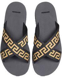 Versace SANDALO IN GOMMA CON NASTRO GRECA - Multicolore