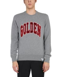 """Golden Goose """"archibald"""" Cotton Sweatshirt With Logo Finished By Sequins - Grey"""