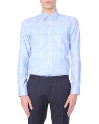 "HUGO ""kenno"" Cotton Oxford Shirt With Squares - Blue"