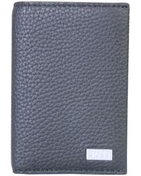BOSS by Hugo Boss Bifold Hammered Leather Wallet With Logo - Black