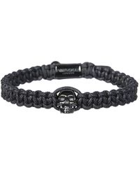 Northskull Bracelet With Macramé Skull - Black