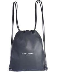 Saint Laurent Teddy Leather Backpack - Grey