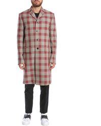 Valentino Checked Single Breasted Coat - Multicolour