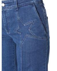 Stella McCartney Palazzo Denim Jeans With Star Details - Blue