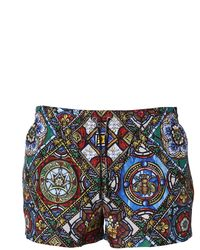 Dolce & Gabbana Short Swimsuit With Glazed Printing - Blue