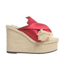 N°21 Mule Sandals With Satin Bow And Rope Wedge - Red