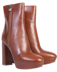 "MICHAEL Michael Kors ""frenchie"" Leather Boot With Plateau - Brown"