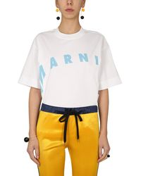 Marni T-shirt With Distorted Logo Print - Multicolour