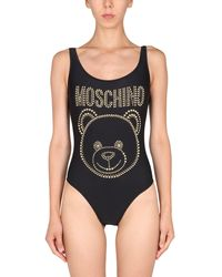 Moschino One Piece Swimsuit With Logo - Black