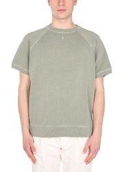 Nigel Cabourn Crew Neck Cotton Washed Army Sweatshirt - Green