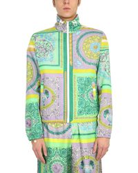 Versace GIACCA CON STAMPA BAROCCO MOSAIC - Verde