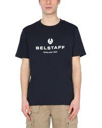 Belstaff - Crew Neck Cotton T-shirt With Logo Print - Lyst