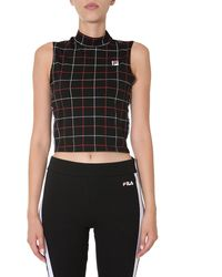 """Fila """"turtle"""" Cropped Cotton Top With Check Pattern - Black"""