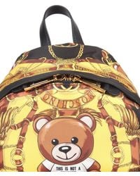 Moschino - Nylon Backpack With Teddy Scarf Print - Lyst