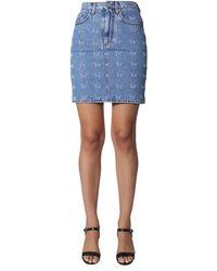 MSGM Embroidered Denim Cotton Skirt - Blue