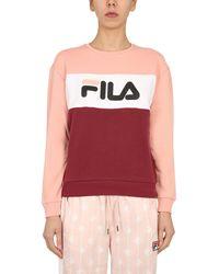 """Fila Felpa """"leah"""" Girocollo In Cotone Colour Block Con Logo - Red"""
