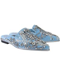 Alexander McQueen Velvet Slipper With Crystals - Blue