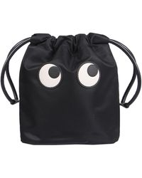 Anya Hindmarch POUCH EYES IN NYLON RICICLATO CON COULISSE - Nero